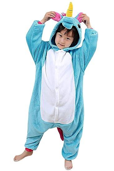 Dolamen Kinder Jumpsuits Kostüm Tier Onesie Nachthemd Schlafanzug Kapuzenpullover Nachtwäsche Cosplay Kigurum Fastnachtskostu