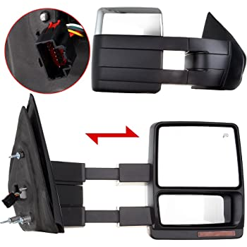 Eccpp Towing Mirrors Replacement Fit For   Ford F Chrome Power Heated Led Turn Signal Puddle Lamp Cap Pickup Mirrors