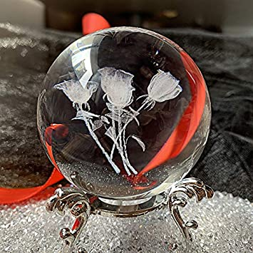 HDCRYSTALGIFTS 3D Carving Dandelion Crystal Ball Glass Sphere Display Paperweight with Sliver-Plated Flowering Stand,2.4inch 60mm