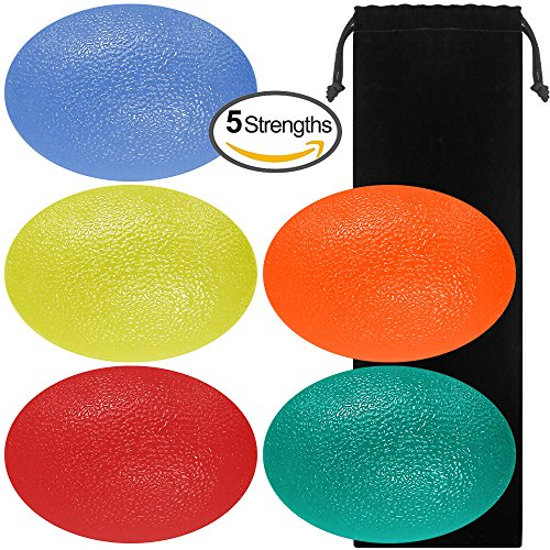SourceTon Fidgets Stress Relief Ball, Egg-Shape Hand, Finger Grip Strengthening Therapy Stress Balls, Great Physical Rehabilitation & Grip Strengthener, Pack of 5 Squeeze Balls