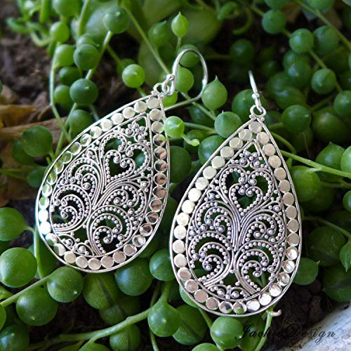 Tear Drop Paisley Filigree Bali Ornate Handmade Sterling Silver Earrings JD20