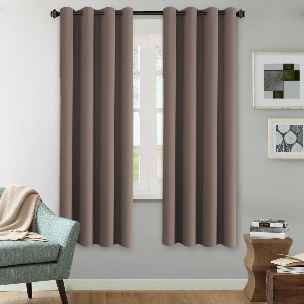 H.Versailtex Blackout Room Darkening Curtains for New Year Season/Window Treatments Panels Taupe Gray