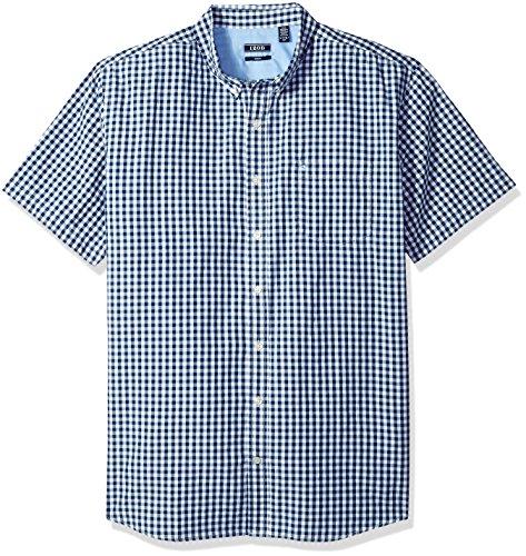 IZOD Men's Size Big Saltwater Breeze Plaid Short Sleeve Shirt, Slim Estate Blue, X-Large Tall Slim (Clothing Tall Slim)
