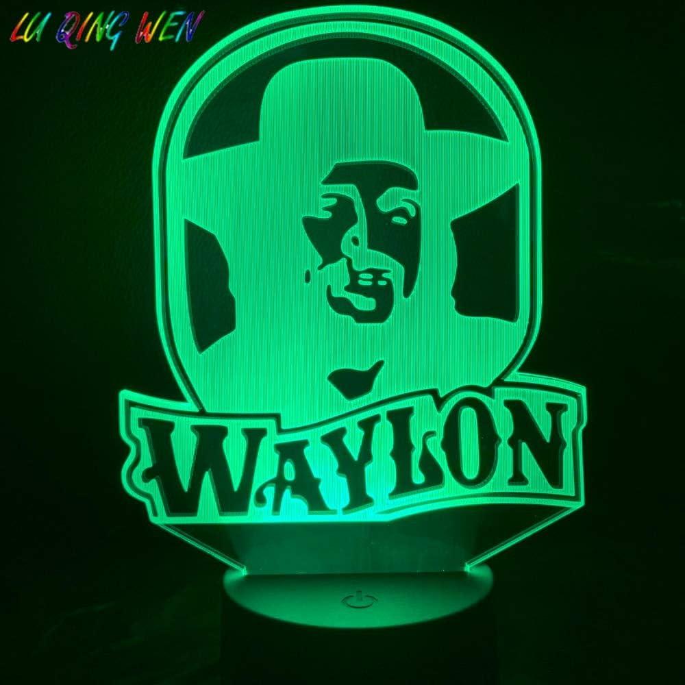 Luz nocturna única Waylon Jennings Figura Luz nocturna Ventiladores adultos Dormitorio luminaria Color Luz nocturna USB