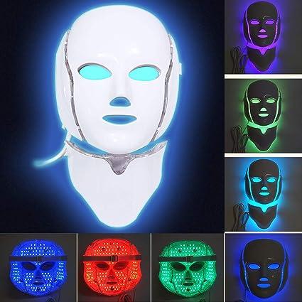 MinvoBeauty LED Máscara Facial de 7 Colores Fotón Therapia para Cara y Cuello, para el Cuidado de la Piel, para Arrugas, Acné, Antienvejecimiento y ...