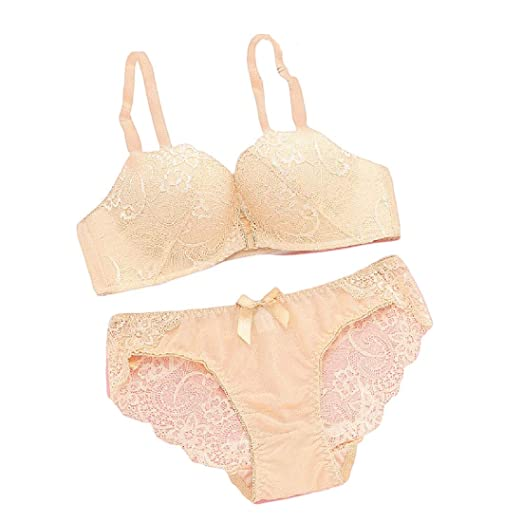 695a1b80a853e Highisa Women Beauty Front Close Lace Wirefree Bralette Bra and Panty Sets  at Amazon Women's Clothing store: