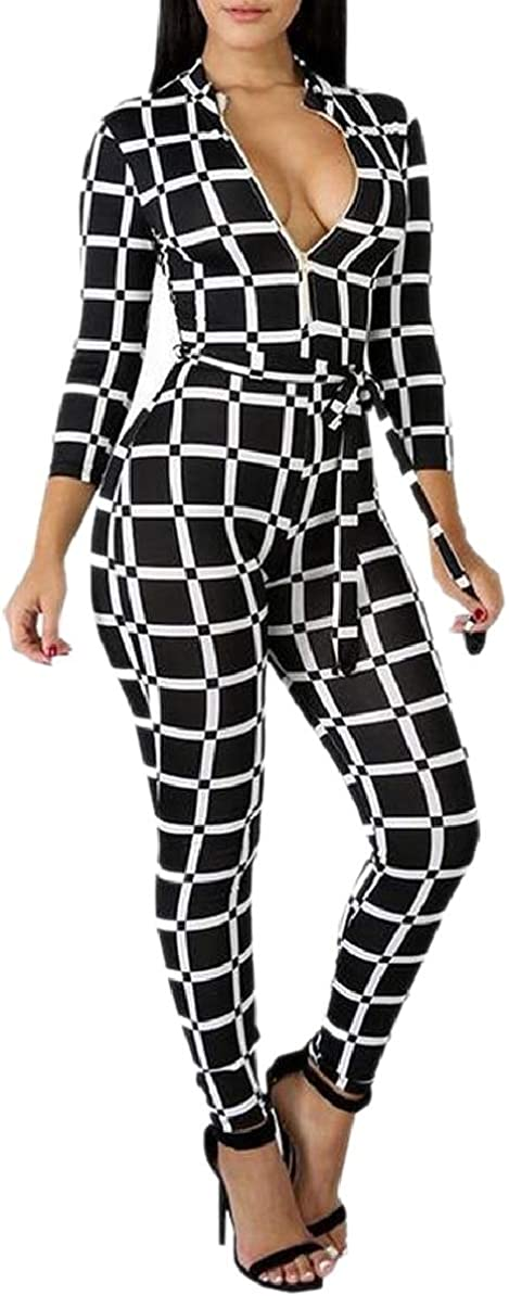 FLCH+YIGE Womens Hip Up Checkered Fall Winter Long-Sleeved V Neck Skinny Fit Playsuits