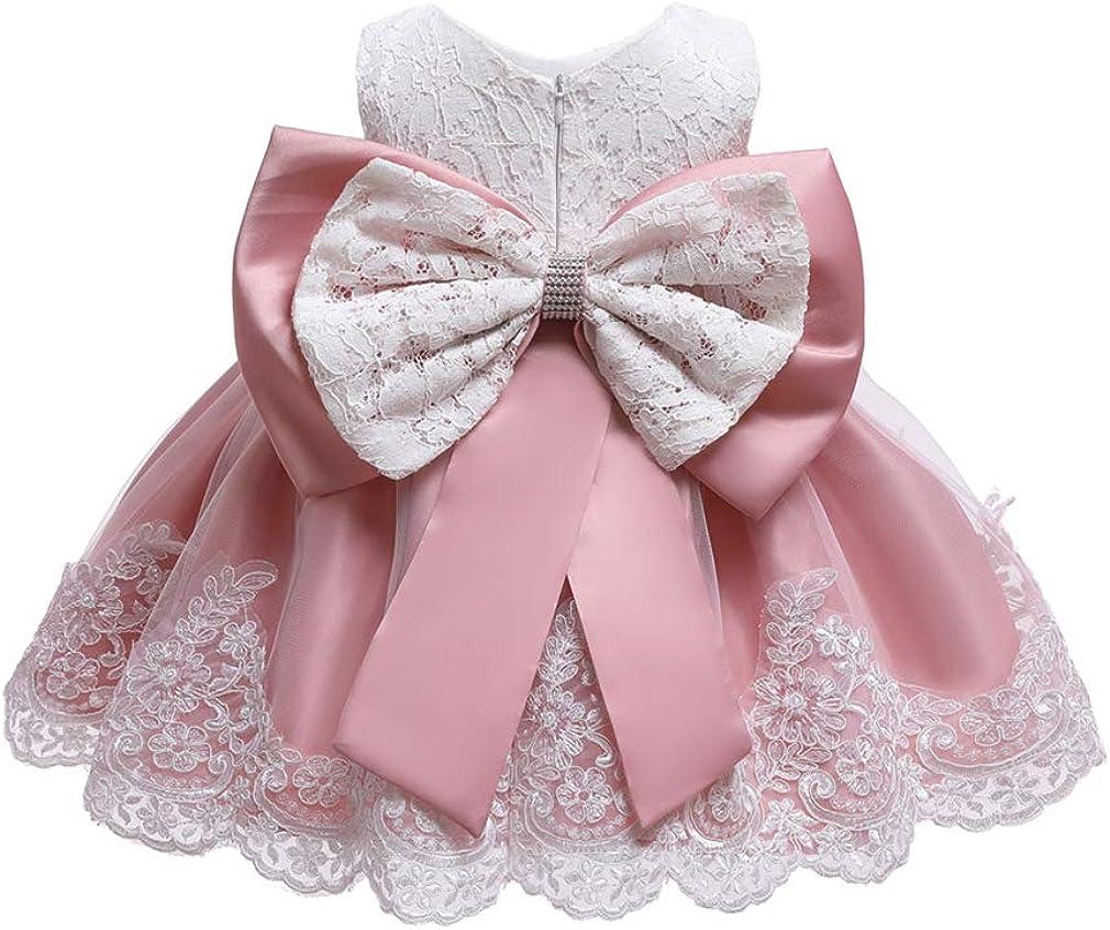 Gaga city M/ädchen Bowknot Spitze Prinzessin Kleid Blumenm/ädchenkleid Taufkleid Festlich Kleid Hochzeit Geburtstag Partykleid Festzug Babybekleidung Outfits 3Monate-6Jahre
