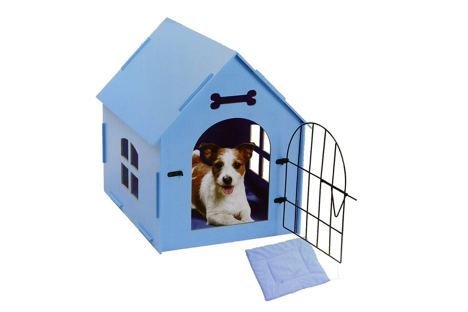 Pet Store Wood Dog House with Mat - Blue