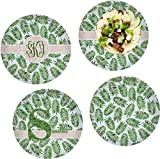 Tropical Leaves Set of 4 Lunch / Dinner Plates (Glass) (Personalized)