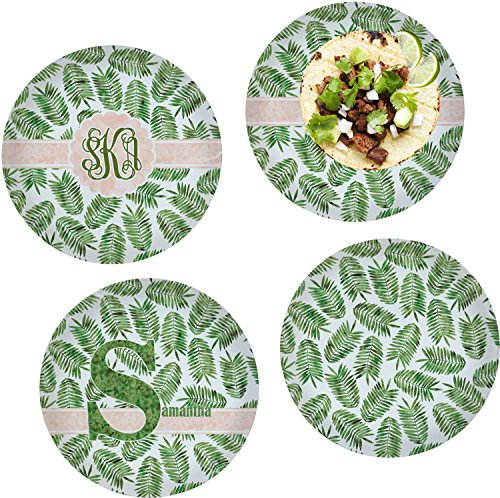 Tropical Leaves Set of 4 Lunch / Dinner Plates (Glass) (Personalized) by RNK Shops