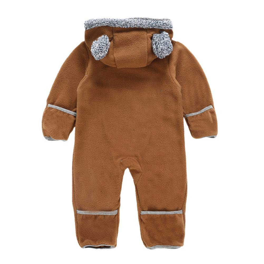 MiyaSudy Newborn Baby Winter Jumpsuit,Infant Boy Girl Playsuit Fleece Hooded Bodysuit Clothes Outfits
