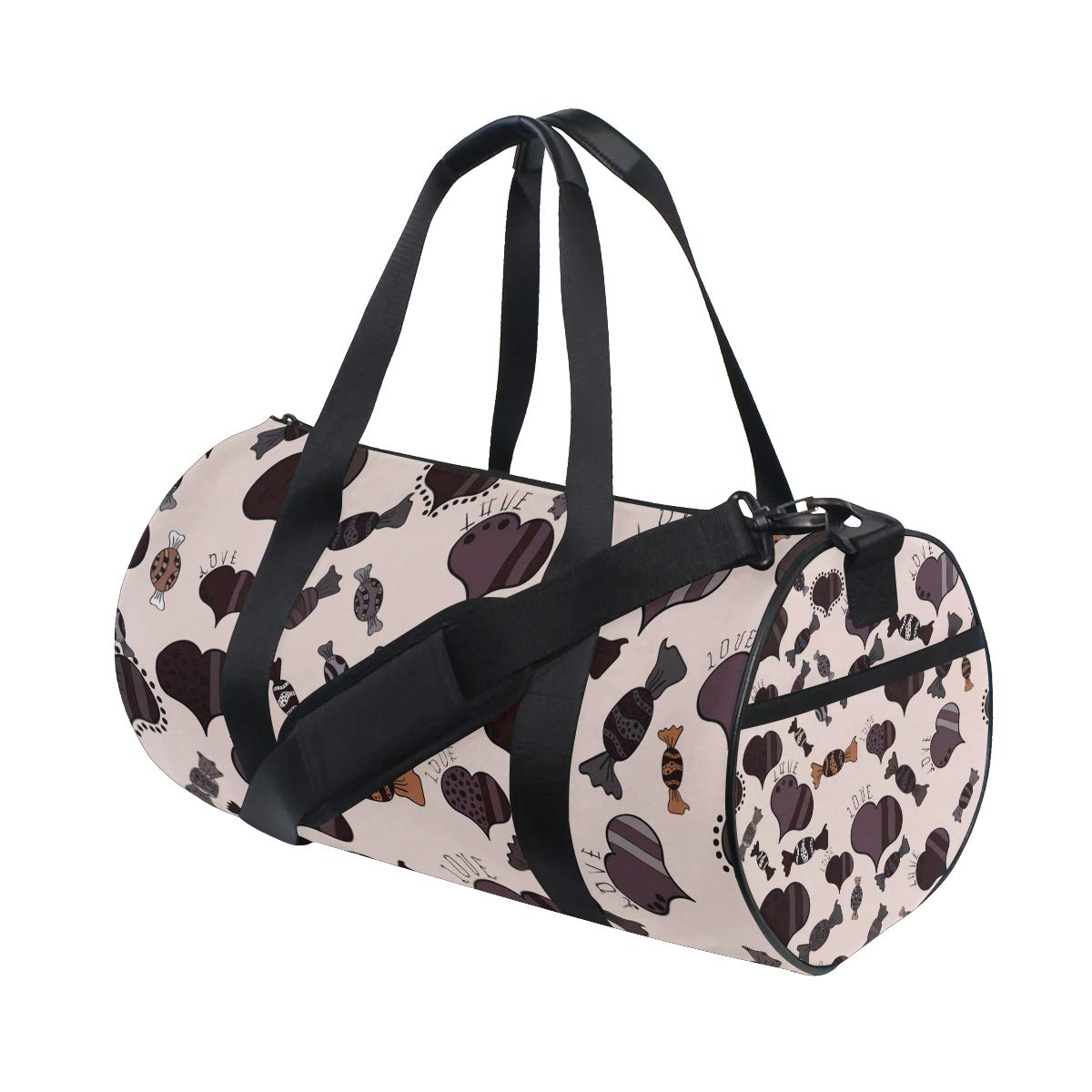 AHOMY Christmas Candy Love Heart Sports Gym Bag Travel Overnight Duffel Bag for Men and Women