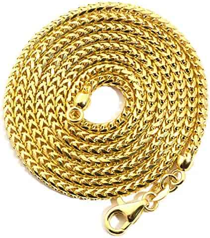 LoveBling 14K Yellow Gold 2.2 mm Solid Diamond Cut Franco Chain Necklace with Lobster Lock (Available from 18-26 inches)