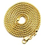 "LoveBling 14K Yellow Gold 2.2 mm Solid Diamond Cut Franco Chain Necklace with Lobster Lock (22""): more info"