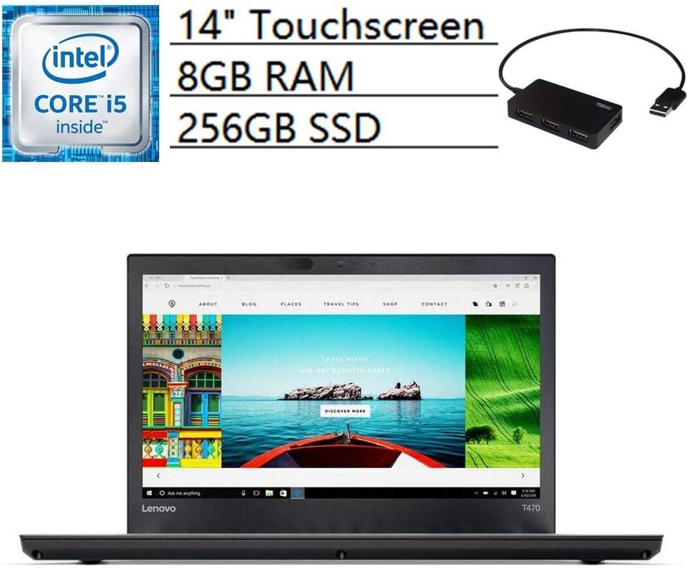 "Lenovo ThinkPad T470 Laptop, 14"" FHD IPS Touchscreen, Intel Core i5-6300U, 8GB RAM, 256GB SSD, Bluetooth, WiFi, Webcam, USB, Windows 10 Pro, Bundle with TSBEAU 4 Port USB 2.0 Hub"