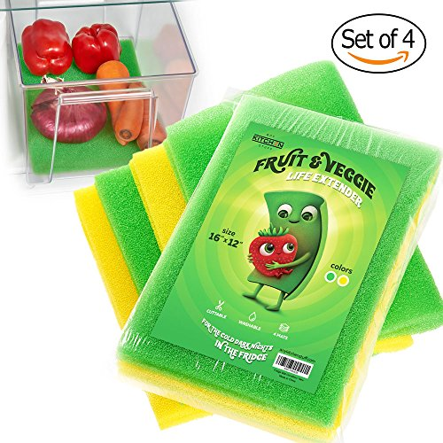 4-Set Fruit & Veggie Life Extender - 16x12 Inch - Foam Fridge Shelf Mat & Refrigerator Drawers Liner - Washable Anti-mold Pads - Extends Life of Produce & Prevents Spoilage - Keeps Food Fresh & Crispy Salad Top Refrigerator 4 Drawers