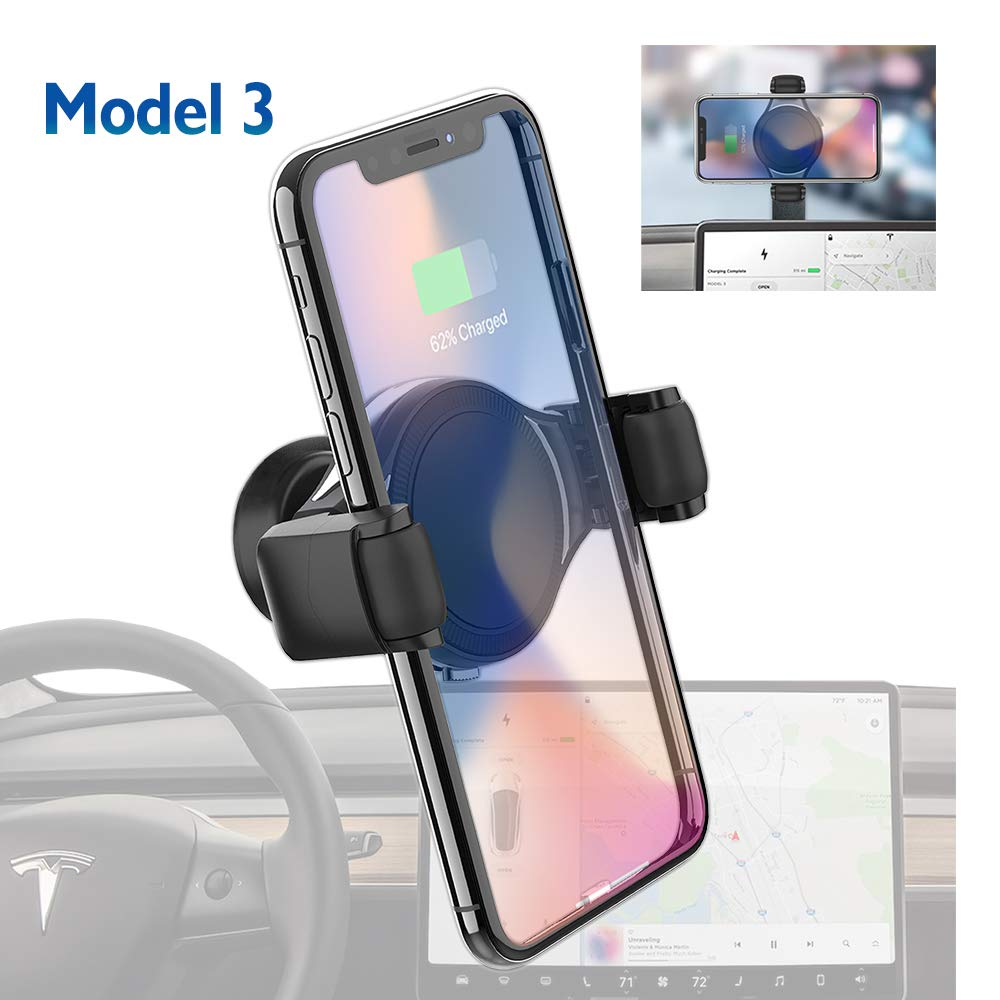 Tesla Model 3 Wireless Charger Phone Holder/Mount for iPhone, Samsung and All, Dashboard/Console 360 Rotation Phone Stand, T-Mount by Plafnio by Plafnio