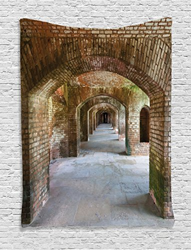 Apartment Decor Tapestry Wall Hanging by Ambesonne, Brick Arches at Dry Tortugas Old Fort Historic Heritage Tourist Attraction Vintage Deco, Bedroom Living Room Dorm Decor, 60 W x 80 L Inches, Bronze 80 Tortuga Art