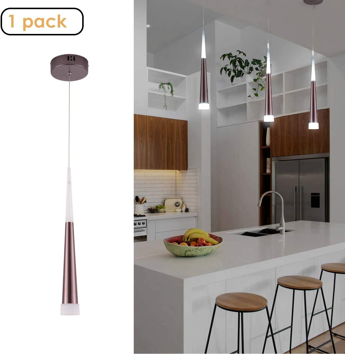 Harchee Modern LED Pendant Light with Acrylic Shade, Adjustable Ceiling Hanging Lamp Fixture, Mini Cone Pendant Lighting for Kitchen Island, Dining Room Bar Farmhouse Entryway 6W, Daylight 6000K