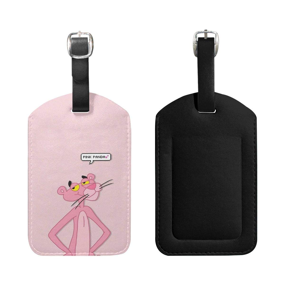 PU Leather Luggage Tags Pink Panther Suitcase Labels Bag Adjustable Leather Strap Travel Accessories Set of 2