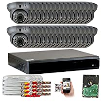 GW Security 32CH AHD HD 1920 x 1080p Outdoor Indoor DVR Security System with (32) x 1920TVL 2.8-12mm Varifocal Zoom Lens 1080P Dome Cameras, QR Code Remote Access