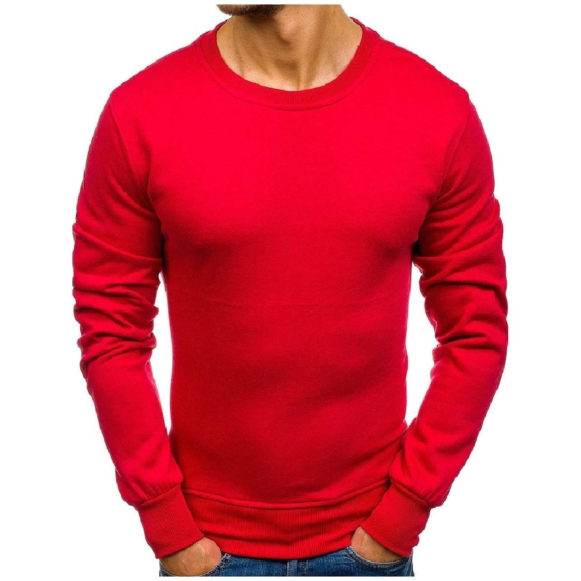 Abetteric Mens Pullover Regular Plus Size Solid Color Hoodie Shirt Top