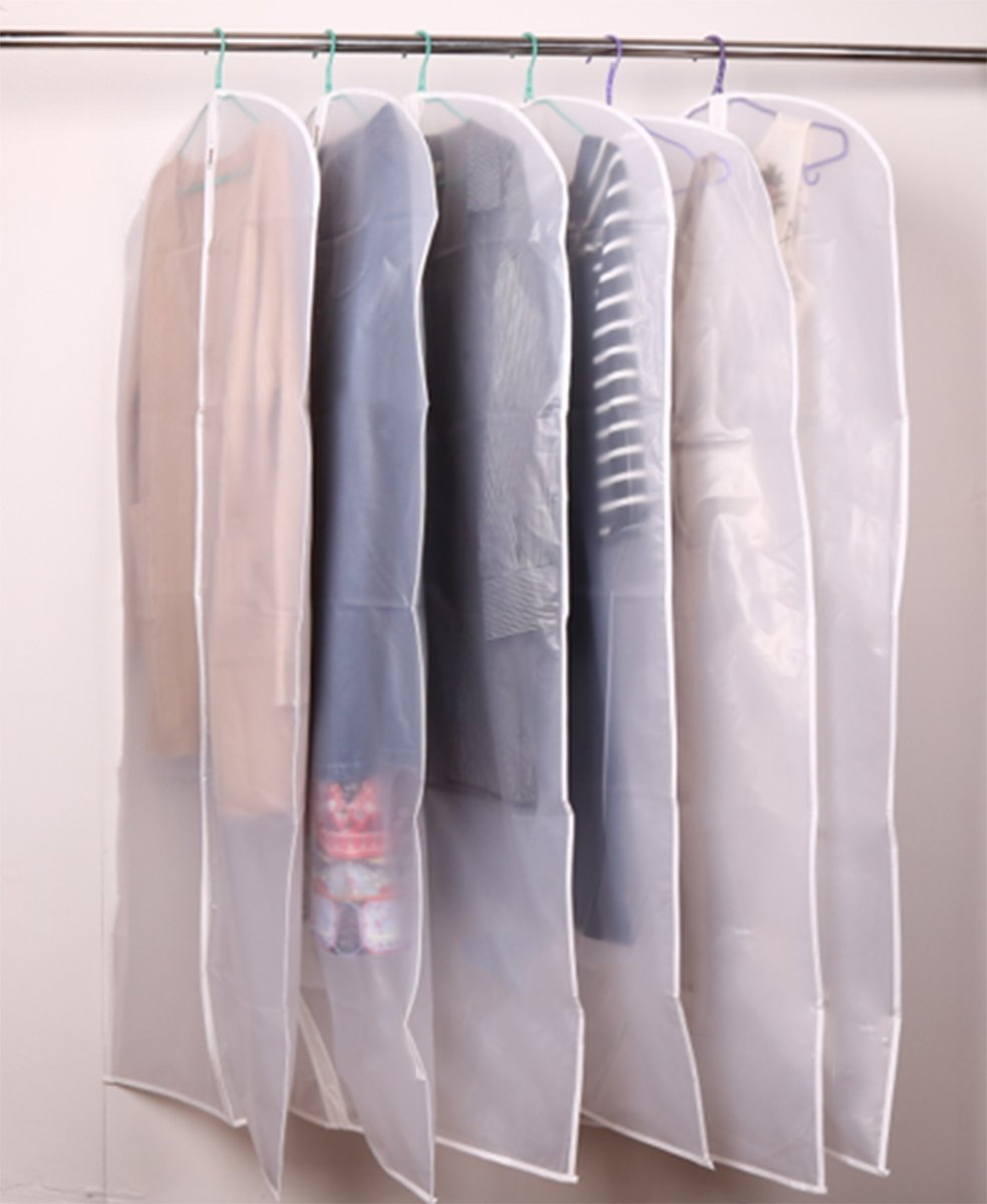 Garment Bag for Long Dress,60 Inch Moth Proof Garment Bag Clear Dust Cover White Breathable Full Zipper For Clothes Storage Closet Pack Of 6 by homeminda (Image #6)