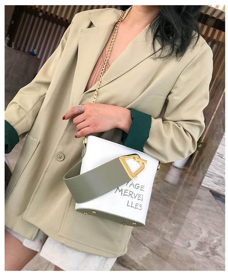 OUSHINA New 2019 Summer Bag Ocean Style Textured Joker Chain Shoulder Messenger Bag Color : Green, Size : 2017189cm
