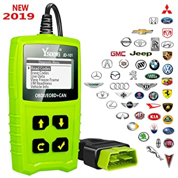 Ysding JD101 OBDII Code Reader Auto Scanner Car Engine Diagnostic Tool  Check Engine light Erase Fault Codes Suitable for EOBD Vehicles with  Battery