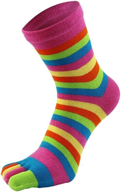 Los hombres de cinco dedos del pie calcetines de algodón de los hombres de los deportes de correr calcetines casual de la tripulación calcetines: Amazon.es: Deportes y aire libre