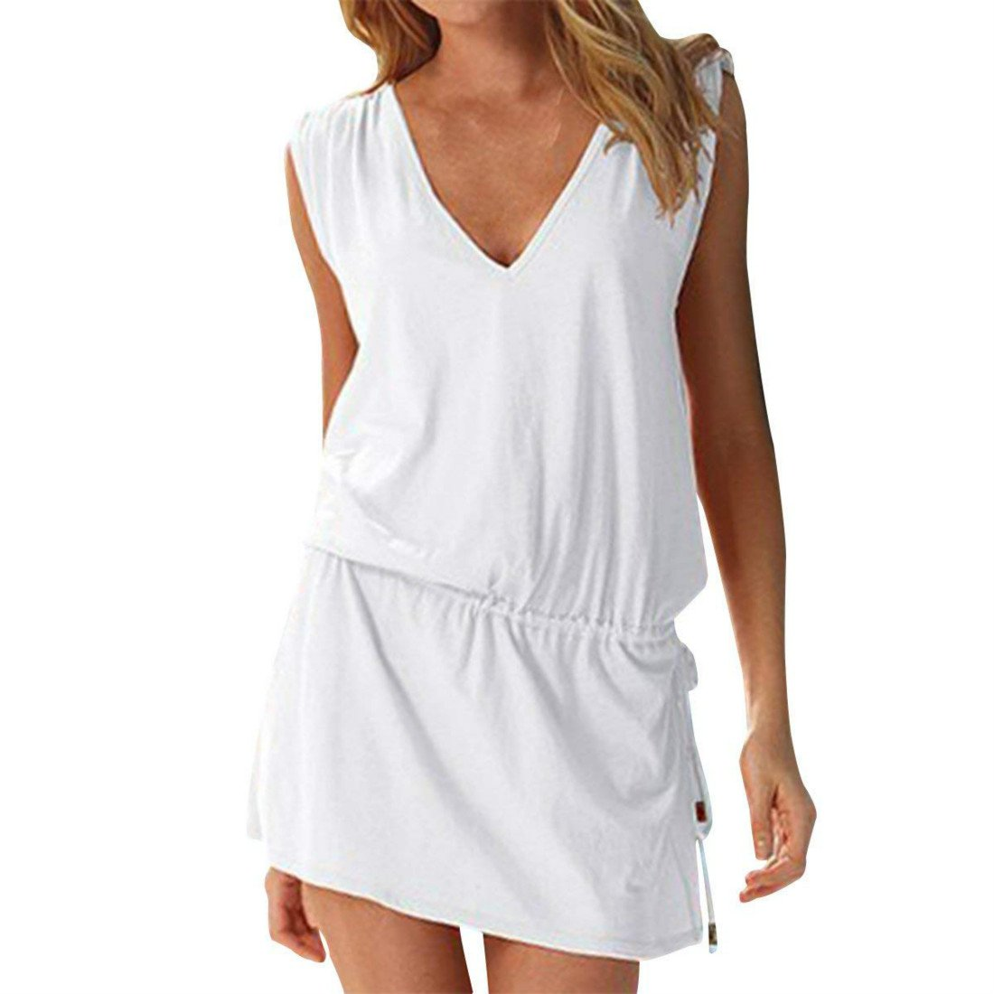 HALT Women's Beach Swimsuit Cover up Deep V-Neck Short Mini Dress Open-Back Beach Skirt (White)