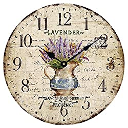 Wood Wall Clock 12Vintage French Country Print Lavender in Pot Romantic Shabby Chic Large Decorative Roman Numerals Analog Battery Operated Silent for Home Decoration