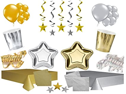 XXL Party Decoración Cumpleaños Juego completo Plata Oro ...