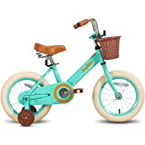 JOYSTAR Vintage 12 & 14 & 16 Inch Kids Bike with Basket & Training Wheels for 2-7 Years Old Girls & Boys (Ivory & Pink)
