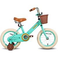 JOYSTAR Vintage 12 & 14 & 16 Inch Kids Bike with Basket & Training Wheels for 2-7 Years Old Girls & Boys (Ivory & Pink)