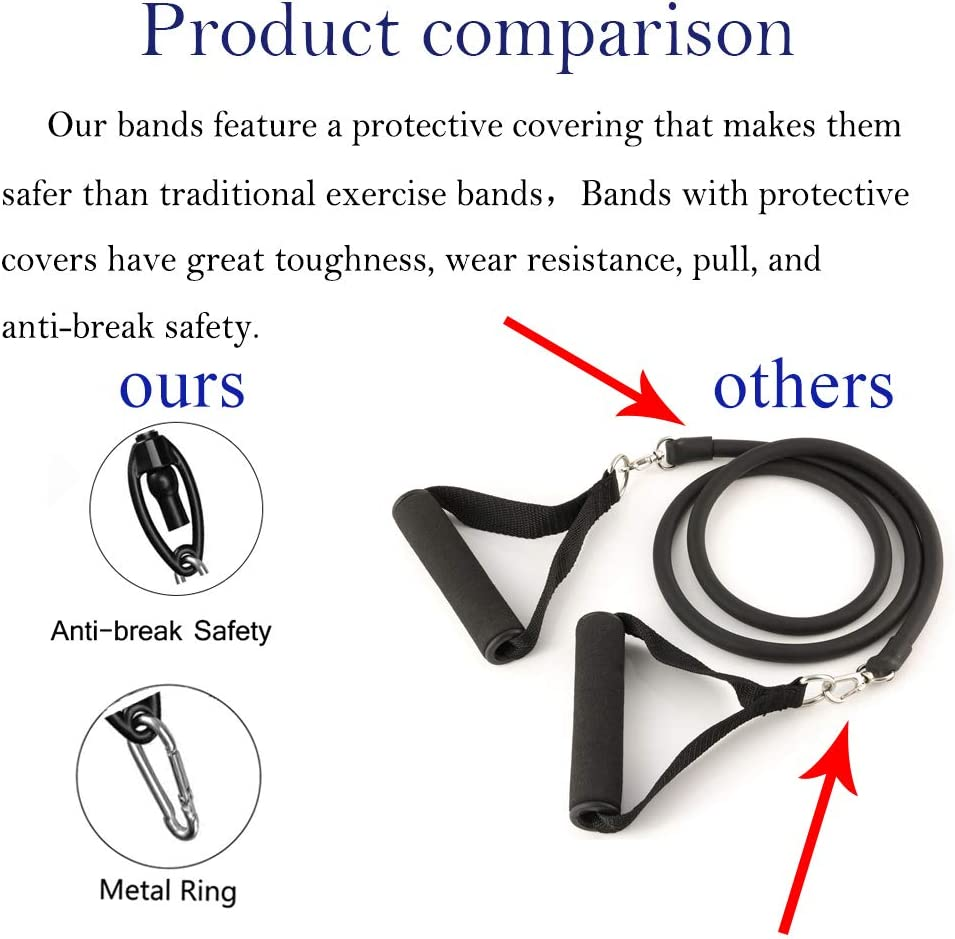 Ankle Straps and Carry Bag Door Anchor 7OP Resistance Bands Set,Workout Bands,Exercise Bands Sets 11pcs-with Handles