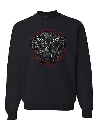 1d53bc76f3cc Bengal Rising Dragons Sweatshirt Asian Art Wild Tiger Yin and Yang Sweater  Black S