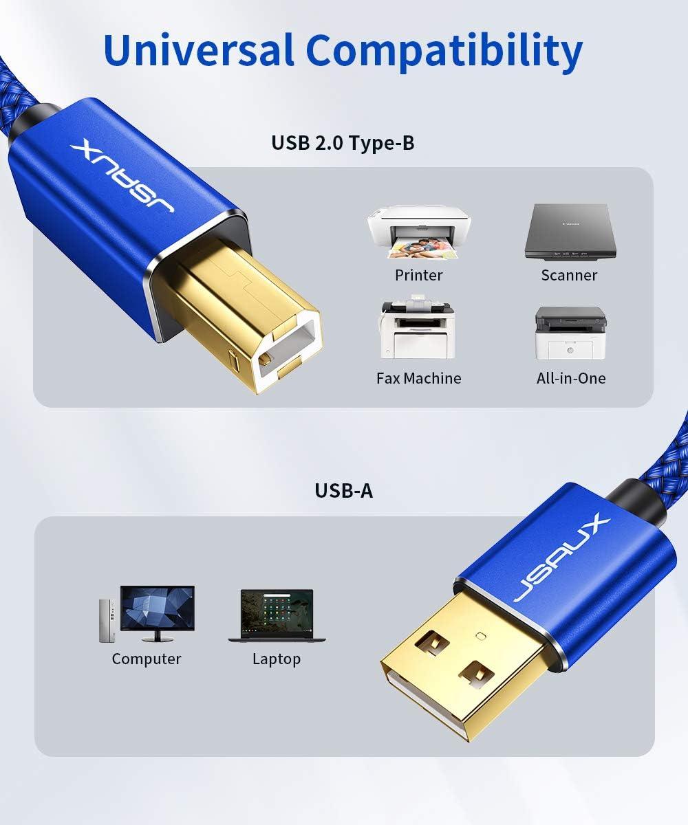JSAUX Cable Impresora [2M] Cable Impresora USB Tipo B 2.0 Compatible para Impresora HP, Epson,Canon,Brother,Lexmark,Escáner,Disco Duro,Fotografía Digital y Otros Dispositivos-Aluz: Amazon.es: Electrónica