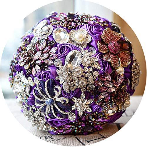 - Dia 20Cm Luxury Full Crystal Handwork Flower Wedding Bouquet Pearl Rhinestone Ribbon Bridal Bouquet Romantic Wedding Accessories,Purple