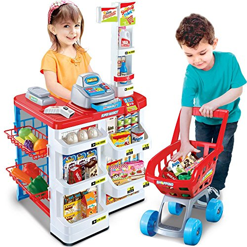 - Supermarket Play Set Toys to Kids with Cash Register, Electronic Scanner Included with Sound and Light to toddlers