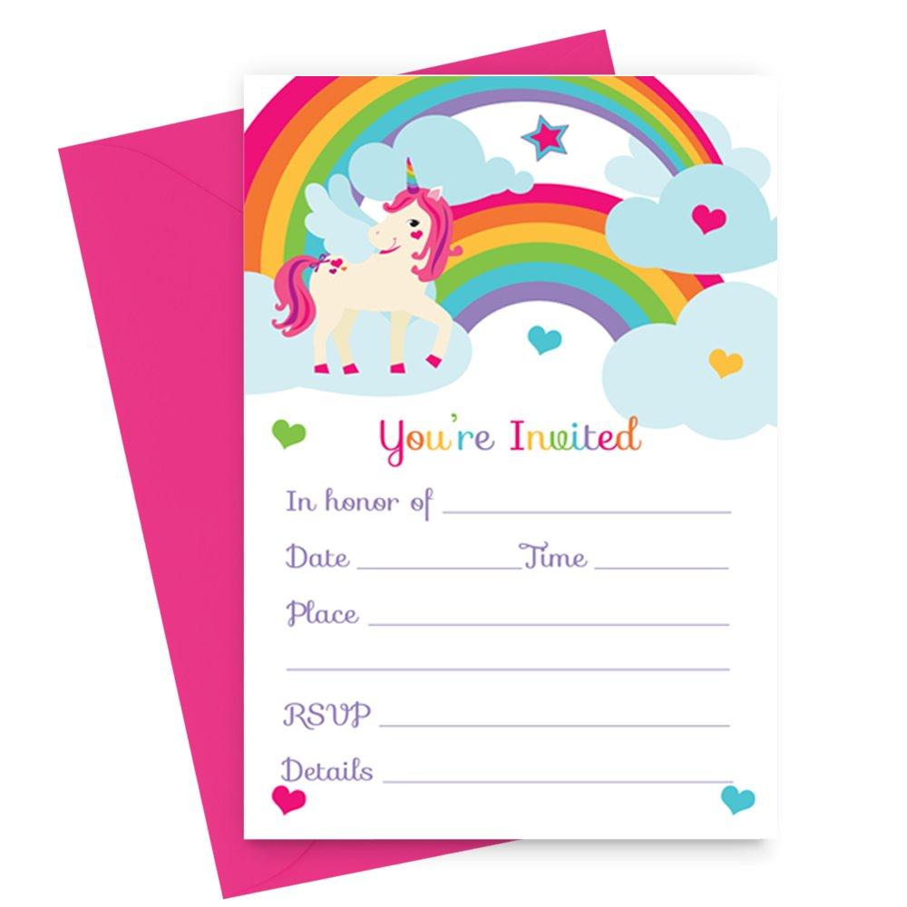Amazon.com : Unicorn Birthday Party Invitations (Fill In) Set of 15 ...