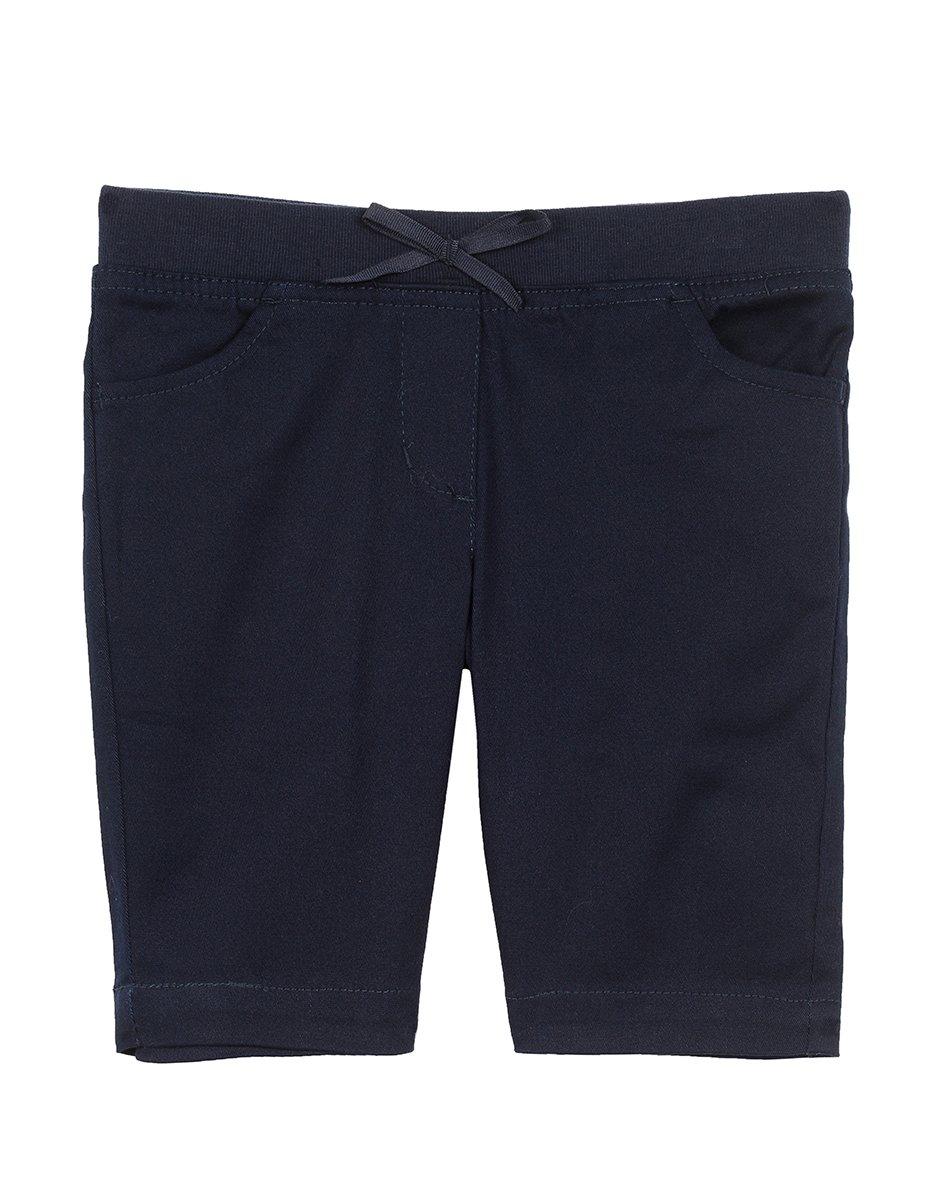 Nautica Girls' Little School Uniform Skinny Twill Bermuda Short, Navy/Pull on on, 6X