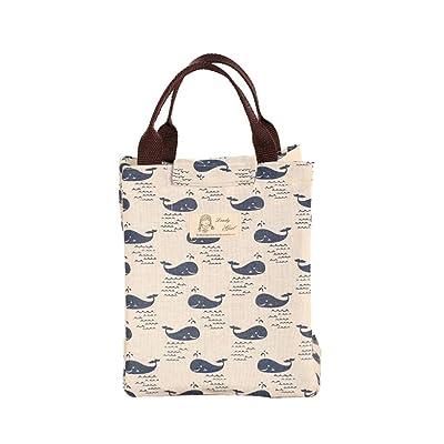 Sensail Sac à Déjeuner en Tissu Oxford Tote Bento Portable Isotherme Imperméable Lunch Bag Thermique isolé pour Ecole Bureau Voyage Pique-nique (A, 24X20X17cm)