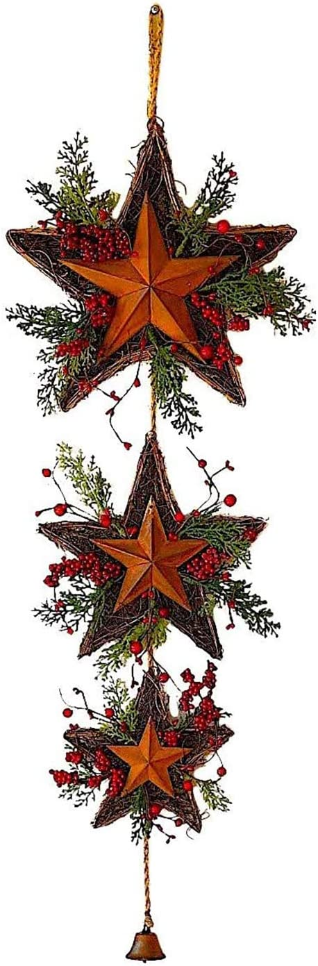 3 Star Wreath Christmas Holiday Decoration Twigs Red Berries Rustic Metal W Jingle Bell Wall Door Decor 39 X 13 Home Kitchen