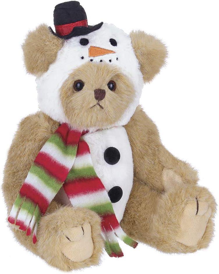 Bearington Frost E Bear Christmas Plush Stuffed Animal Teddy Bear in Snowman Suit, 10 inches