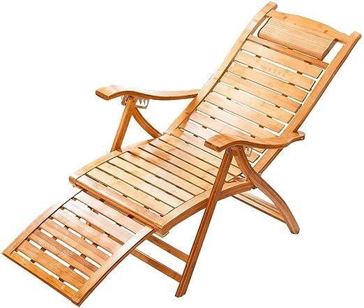 NO BRAND Tumbonas Jardin Bambú Silla Plegable Ajustable en 6 Posiciones con Foostool extendida, el portátil Solar terraza, balcón, Playa, y Centro de Entretenimiento ...