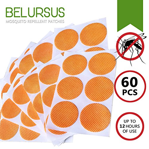Belursus Mosquito Repellent Patch / 3cm Resealable 60 Units / Premium Japan natural essential plant oils /100% Natural Mosquito Repellent / 24-Hour Protection / Simply Apply to Skin and Clothes