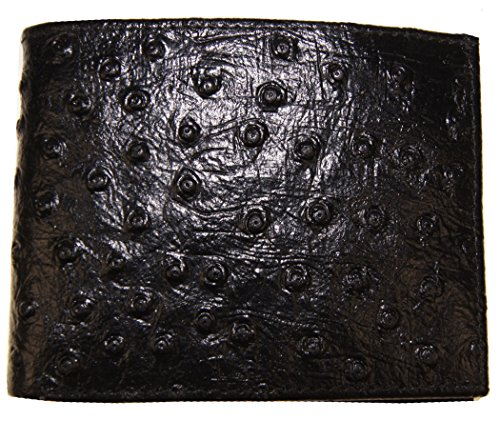 Genuine Leather Ostrich Skin Designed Bi-fold Men's Embossed Wallet Black