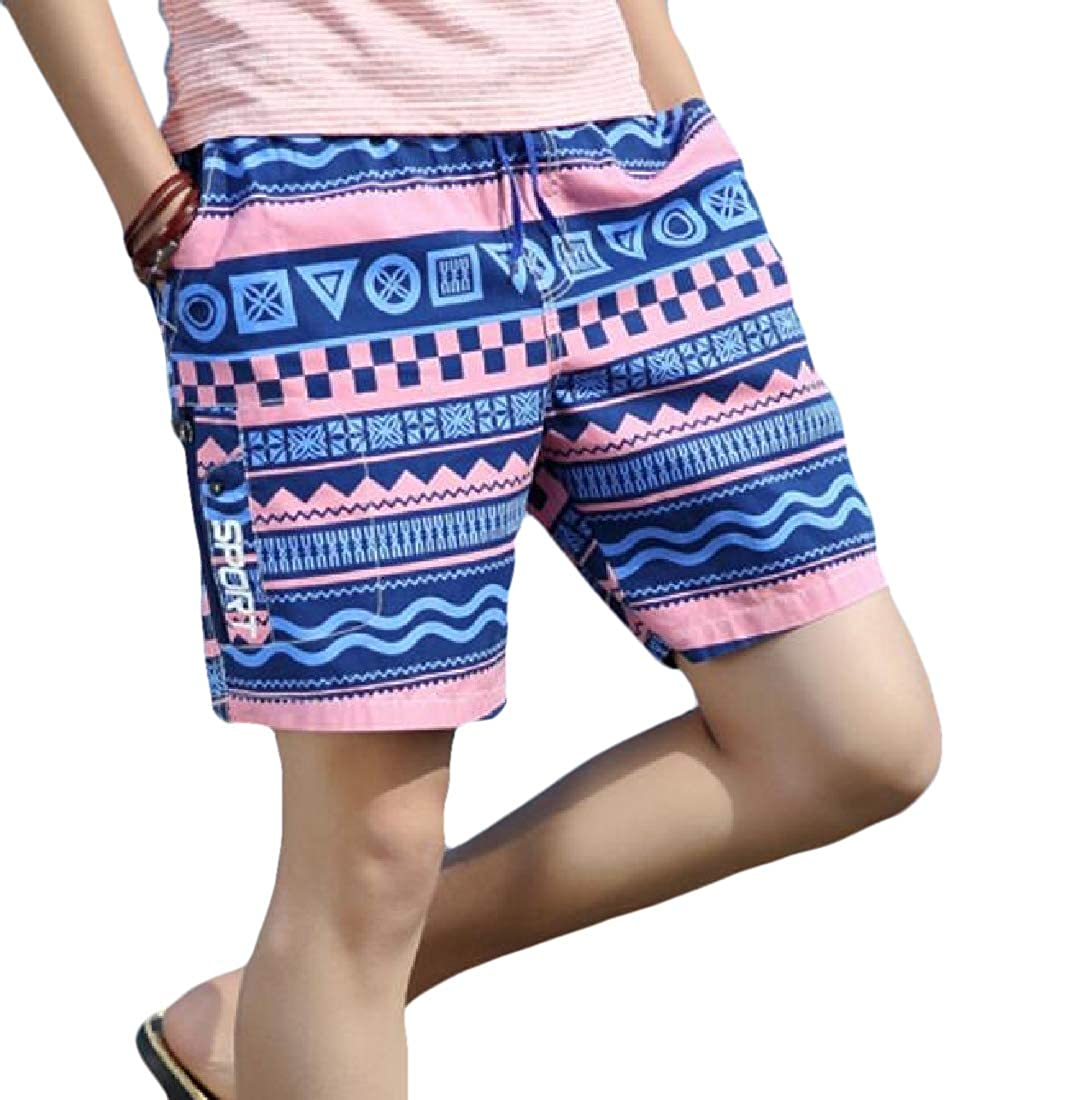 Alion Mens Summer Trunks Floral Print Slim Fit Board Shorts Quick Dry Shorts